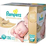 Pampers Newborn Under 10lbs Premium Care Disposable Diapers, 136 Counts