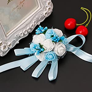 SYlive Beautiful Wrist Corsage Flowers, Hand Flowers for Girl Bridesmaid Wedding Party Prom 109