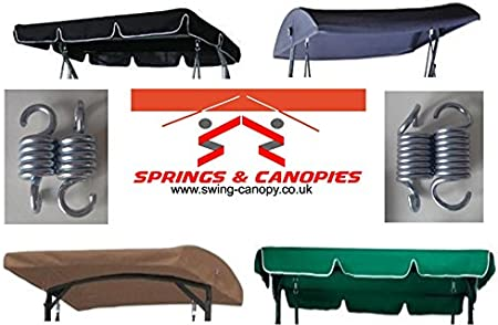 Black, 200 x 115 Round Springs /& Canopies Replacement Canopy for Garden swing 2//3 seater different sizes and styles available