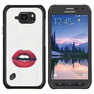 LECELL--Funda protectora / Cubierta / Piel For Samsung Galaxy S6Active Active G890A -- labios sensual beso blanco rojo amor beso --