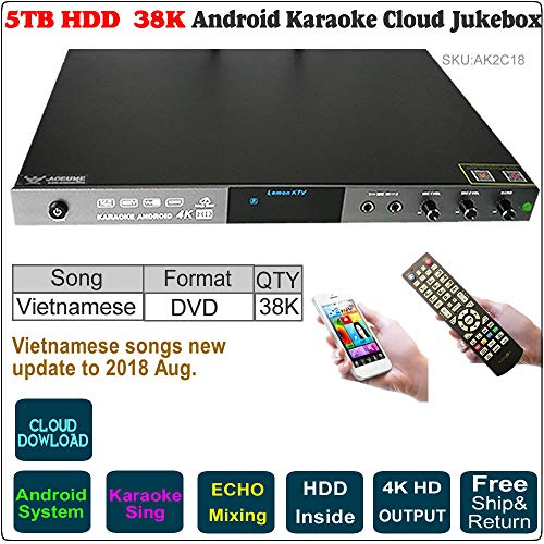5TB HDD,38K Vietnamese Songs Android EHCO Karaoke Player,/Jukebox,Free Cloud Upgrade Songs, Songbook y Remote Controller is Included,Songs Update to 2018, 2C