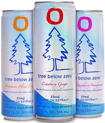 51QA1vITxuL - Tree Below Zero Sparkling Juice, 6 flavor Variety Pack - 12oz Cans Cranberry Ginger, Mandarin Blood Orange, Blueberry Raspberry Pomegranate hemp water - Only on Amazon.