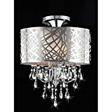 Chrome and Crystal 4-light Flushmount Chandelier For Sale