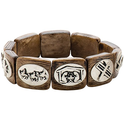 Story Of Christ 7 Inch Wooden Carved Charm Stretch Bracelet Shows Your Faith
