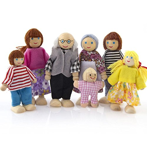 (Sacow Doll Family Set, Wooden Furniture Dolls House Family Miniature 7 People Set Doll Toy for Kid Child)