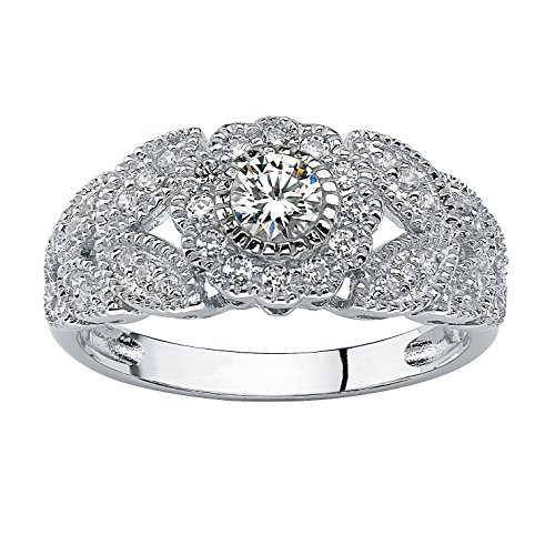 Round White Cubic Zirconia Platinum over .925 Sterling Silver Flower Miligrain Ring Size 8