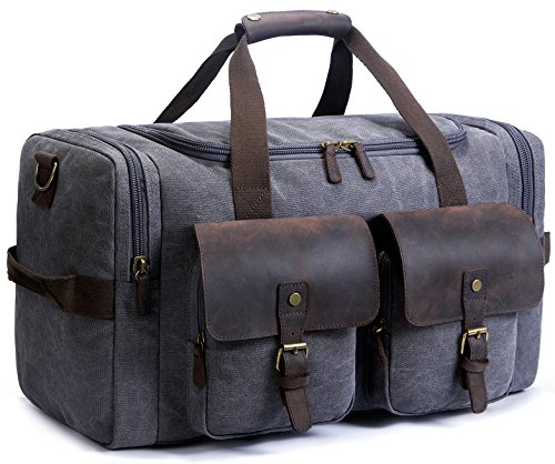 Bag Leather Weekend Bag Carry On Travel Bag Luggage Oversized Holdalls for Men and Women(Dark Grey) ()