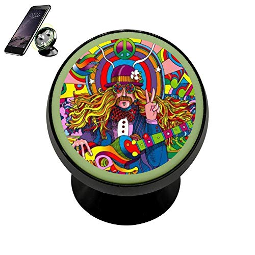 LIHHOLI Hippie Peace Art Victory Vehicle Phone Mount Magnetic Mobile Phone Car Mount Dashboard Multi-Function Mounts Holder 360 Universal Noctilucent - Nme Air