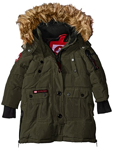 CANADA WEATHER GEAR Girls' Toddler Outerwear Jacket (More Styles Available), Hooded Stadium-CW055-Olive, 3T