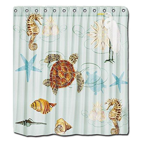 YYT Custom Shower Curtains Summer Sea Treasures Curtain 72X80