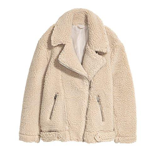 Ivan Johns Warm Winter Warm Cashmere Coat Women Plus Size Solid Jacket Oversized Zippers Casual Coats Outerwear Woman Jackets C7272Beige XXXL (Track Jacket Cashmere)