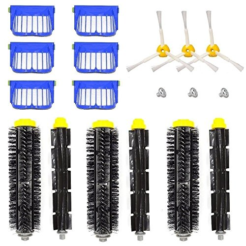 DerBlue Compatible/Replacement Parts Kit for Irobot Roomba 600 610 620 650 Series Vacuum - Includes Filter, 3-Armed Side Brush Bristle Brush Flexible Beater Brush,Screw