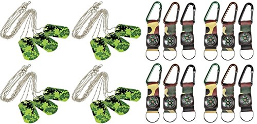 happy deals Military Adventure Set -12 Camouflage Army Belt Clip Compass Key Chains + 12 Camouflage Dog Tags