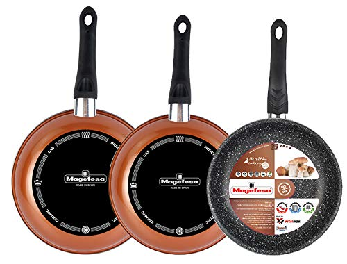 Magefesa Copper Set of 3 Frying Pans 242628, Made from Vitrified Steel Non-Stick Double Layer Reinforced Stone Effect, Outer Copper Colour Suitable for all types of enamelled -