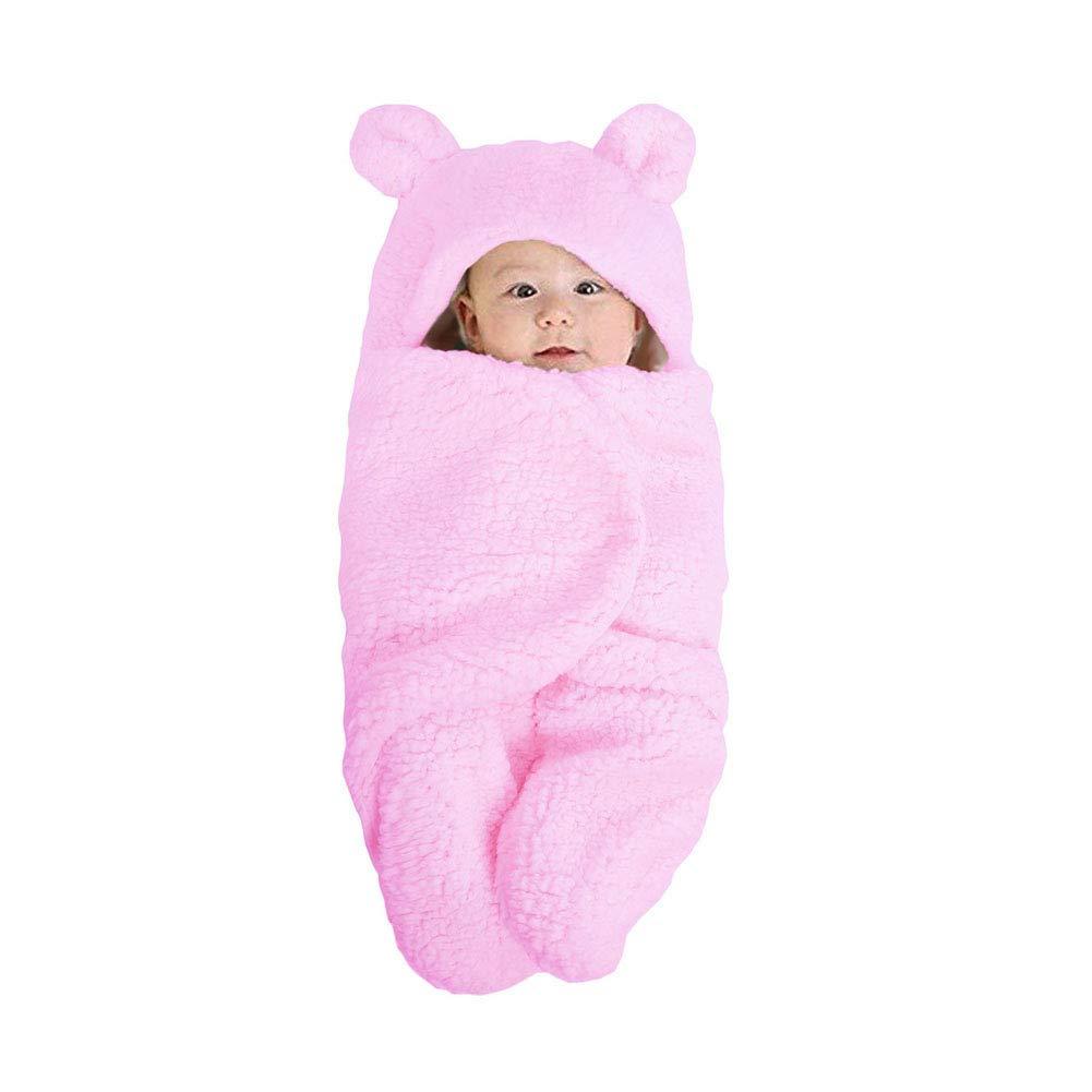 con piedi Shager 0-6 mesi Pink S in morbido pile con cappuccio Sacco nanna per neonati