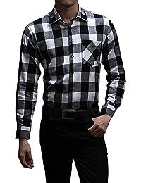 Men's Flannel Shirt Plaid Lightweight Long Sleeve Slim Fit Button Up Shirt