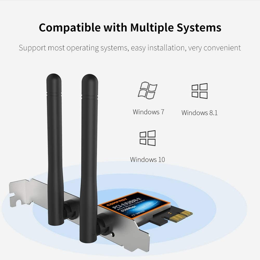 802.11ac 2.4Ghz 5Ghz Dual PCI Express Band Wireless High Speed Network Adapter with External 2dbi Antenna for Desktop PC Working Station DGXIAKE Wireless WiFi Adapter PCI E 650Mbps