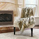 "Best Home Fashion Kitt Fox Faux Fur Full Throw Blanket 58"" x 84"" - TR"