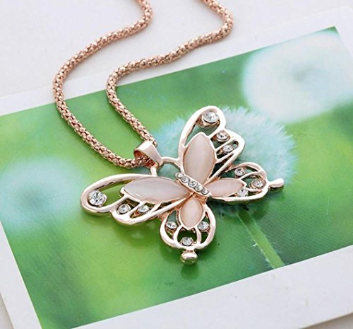 Necklace,ZYooh Mother's Day Vintage Opal Butterfly Pendant Necklace Long Sweater Chain Crystal Necklace Romantic Jewelry Gift by iLH (Image #2)