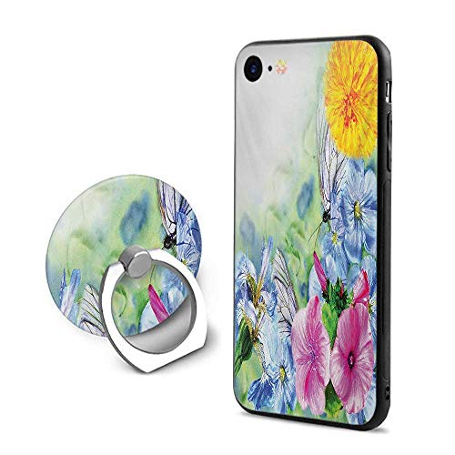 (Watercolor Flower iPhone 7/iPhone 8 Cases,Surreal Iris Peony Poppy Petals Paint with Moth Butterflies Wilderness Multicolor,Design Mobile Phone Shell Ring Bracket)