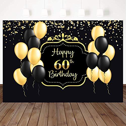 Mehofoto Happy 60th Birthday Backdrop Black Yellow Balloon