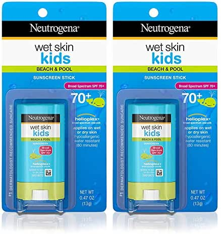 Neutrogena Wet Skin Kids Water Resistant Sunscreen Stick for Face and Body, Broad Spectrum SPF 70, 0.47 oz - Pack of 2