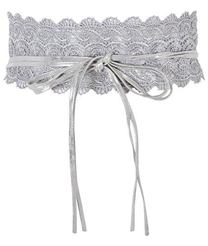 15295-SIL-OS:: KRISP Crochet Waist Belt, Silver,One Size by KRISP