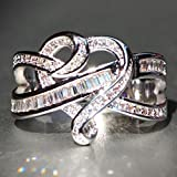 WensLTD Clearance! 2-in-1 Womens Vintage White Diamond Silver Engagement Wedding Band Ring Set (#10, Silver-4)