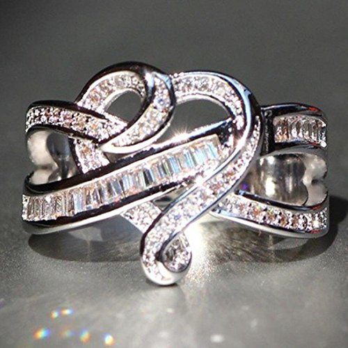 WensLTD Clearance! 2-in-1 Womens Vintage White Diamond Silver Engagement Wedding Band Ring Set (#10, -