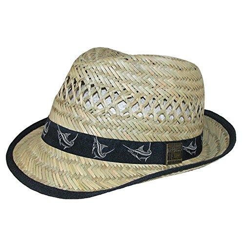Guy Harvey 50's Style Straw Fedora Hat W/ Black Marlin Band]()