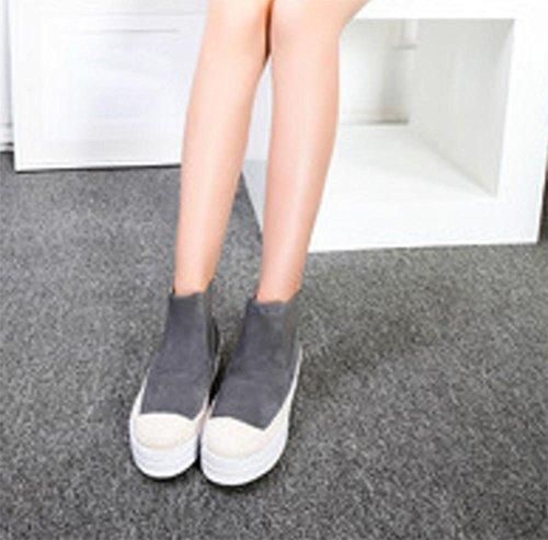 de botas Duantong botas primavera inferior grey botas mujer zapatos paja planos mollete pS1d6xaq