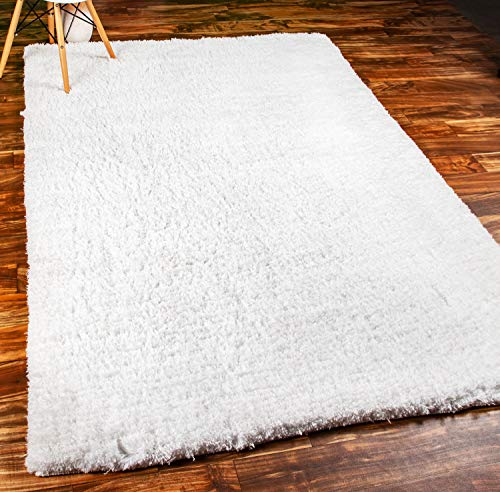 - Super Soft Shag Rug Snow White Premium Washable Extra Thick Microfiber Shaggy for Living Room 5' x 7'