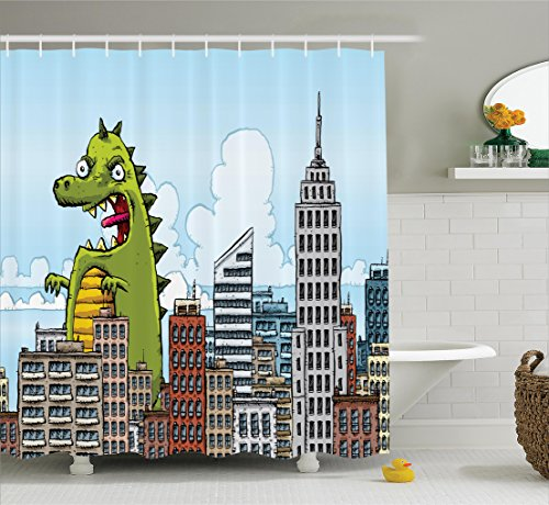 Dinosaur Shower Curtain Set by Ambesonne, Giant Cartoon Monster Invades City Attack Skylines Downtown Science Fiction Image, Fabric Bathroom Decor with Hooks, Blue Green