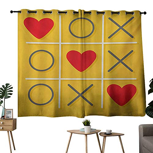 """NUOMANAN Bedroom Curtains Love,Tic-Tac-Toe Game with XOXO Design Let Me Kiss You Valentines Romantic Illustration,Yellow Red,Blackout Draperies for Bedroom Living Room 42""""x45"""""""