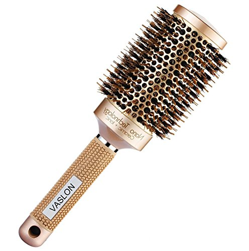 Thermal Boar Brush - VASLON Professional Salon Round Barrel Hair Brush with Boar Bristle For Blow Drying, Curling & Straightening, Nano Thermal Ceramic & Ionic Brush(2 inch)