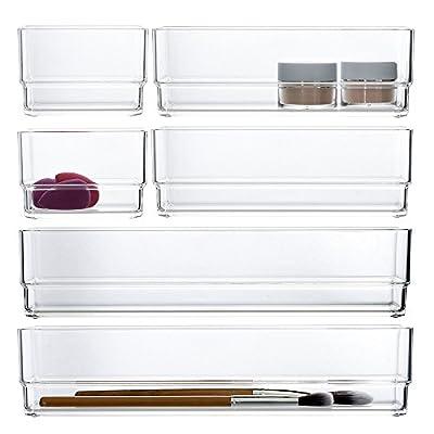 Clear Plastic Makeup Drawer Organizers | 6 Piece Set
