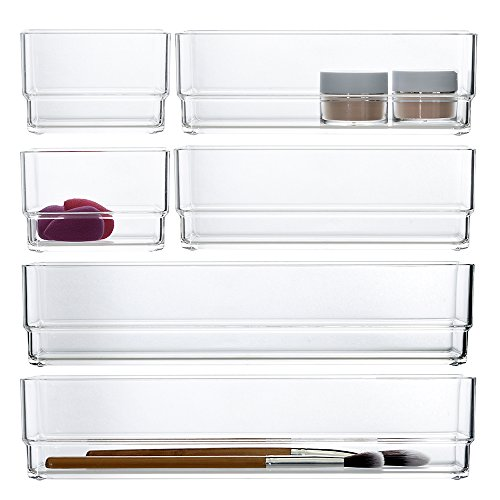 STORi Clear Plastic Makeup Drawer Organizers | 6 Piece Set