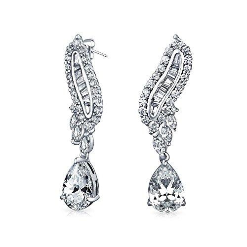 Detailed Baguette (Bling Jewelry Baguette Teardrop CZ Drop Chandelier Earrings Rhodium Plated Brass)