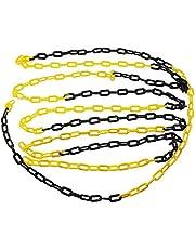 TOPWAY plastic ketting barrière link waarschuwing veiligheid parkeerplaats plastic ketting 6 mm 50 meter, zwart/geel