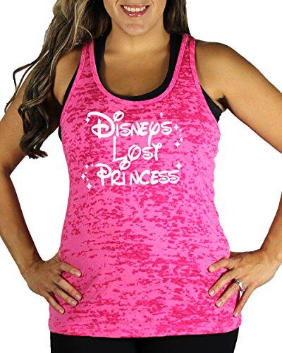 [Disney's Lost Princess Women's WHITE INK Burnout Tank Top Pink X-Large] (Family Disney Shirts)
