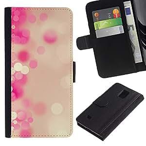 KingStore / Leather Etui en cuir / Samsung Galaxy Note 4 IV / Pastel Blanco Burbujas puntos Girly
