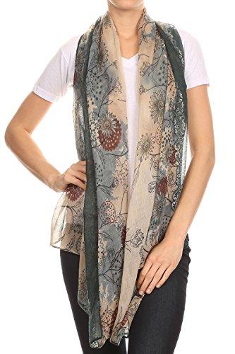 Long Lightweight scarf - Ombre scarf - with flower design - Vintage scarf - 36x68 inch - Variety of colors (36X68 Inches, Multicolor floral with black)