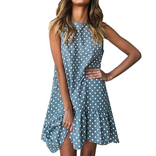 WENSY Women's Fashion Round Neck Sleeveless Dot Print Loose Large Swing Irregular Ruffled Dress Summer Mini Beach Skirt(Blue,M)
