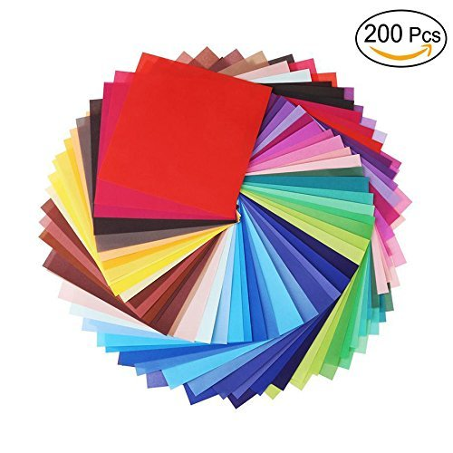 (8 inch x 8 inch Single Sided Square Origami Paper,50 Colors,200 Sheets)