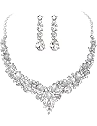 Bridal Austrian Crystal Necklace and Earrings Jewelry Set Gifts fit with Wedding Dress