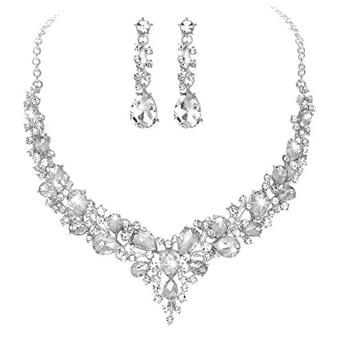 - Youfir Bridal Austrian Crystal Necklace and Earrings Jewelry Set Gifts fit with Wedding Dress(Clear)