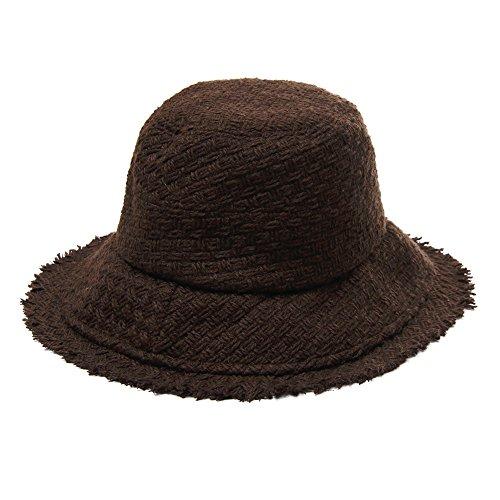 Santiagoana Wide Brimmed Weave Bucket Hat Warm Winter Women Packable Cap