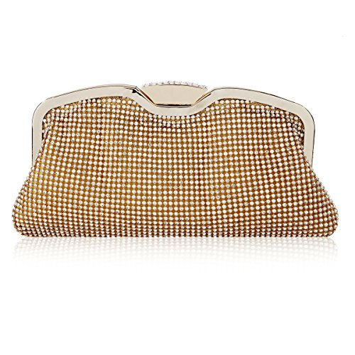 Damara Women Rhinestones Pave Kiss Lock Evening Baguette Handbag,Gold