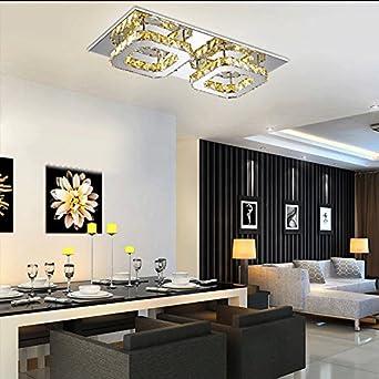 ETiME Kristall Deckenleuchte Modern Deckenlampe LED 24W Edelstahl  Wandleuchte Kronleuchter Für Flur, Gang, Balkon