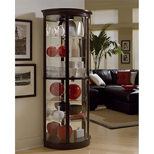 Pulaski Half Round Curio, 32 by 17 by 76-Inch, Dark Brown